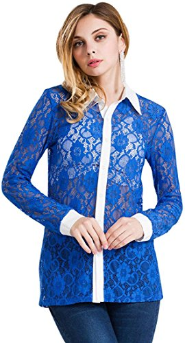 jeansian Damen Ladies Vintage Victorian Ruffle Lace Crochet Floral High Neck Long Sleeve Shirt Blouses Tops WHS039 Blue XL [Apparel] (Lace Brautkleid Victorian)
