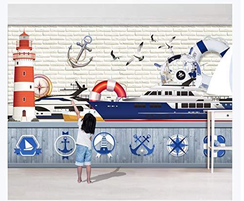 3D Tapete Wandgemälde Mittelmeer-Art-Segeln-Leuchtturm-Rettungsring-Kreuzschiff-Kinderzimmer-Hintergrund-Wand-Tapete Seidentuch Kleber senden 450x300cm