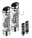 2er Set Luftbefeuchter Ornament - Edelstahl-Verdunster - 5 x 20,5 cm (ØxH) - schwarz/weiß oder weiß/schwarz - Wasserverdunster für Heizung - Raumbefeuchter - Heizung, Farbe:Weiß/Schwarz