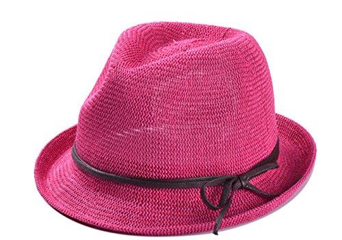 Chapeau Creux De Paille Plage Chapeau Amateurs De Jazz Chapeau Chapeau Masculin Mme été La Version Coréenne RoseRed
