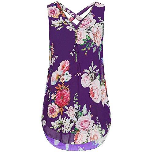 ops Sale Sommer Mode Blumendruck V-Ausschnitt 1/3 Reißverschluss Lose Beiläufige Chiffon Ärmellose Tank Shirt Bluse ()