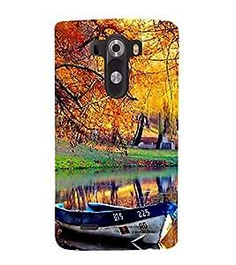 Fiobs Designer Back Case Cover for LG G3 :: LG G3 Dual LTE :: LG G3 D855 D850 D851 D852 (Natural Scene Image Boat River Tree)