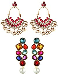 Zaveri Pearls Non Precious Metal Set of Two Ethnic Earrings - ZPFK6020 (Golden) for Women