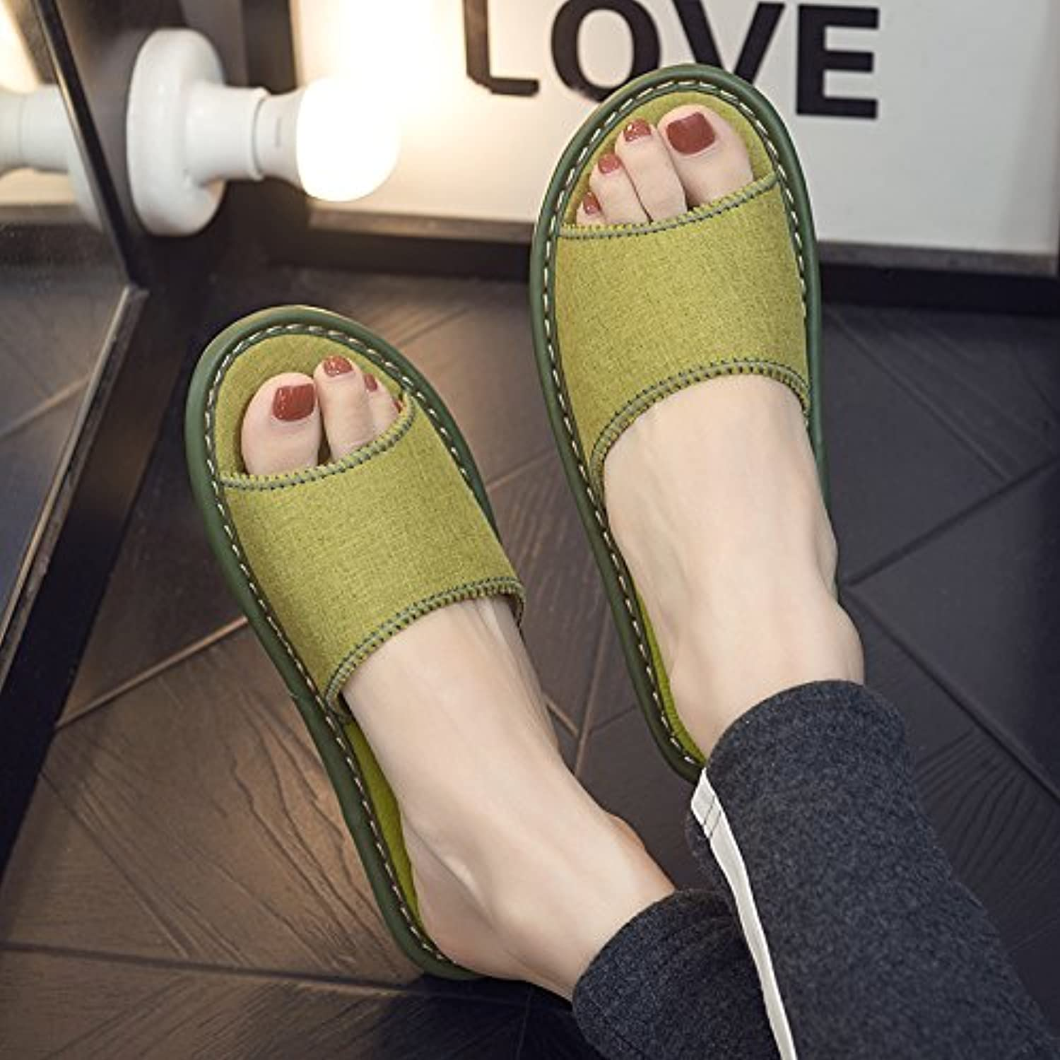 fankou Home Interior Floor Thick Linen Cool Slippers Home with Anti-Slip Away Sweat in The Summer of Men and Ladies...