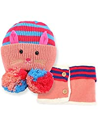 GenialES 2pcs Gorro de Punto Gato Diseño con Bufanda de Cuello de Invierno para Niños 6