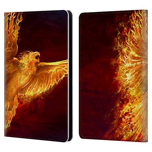Head Case Designs Offizielle Tom Wood Phoenix Feuer Lebewesen Leder Brieftaschen Huelle kompatibel mit Kindle Paperwhite 1/2 / 3 - Phoenix Design