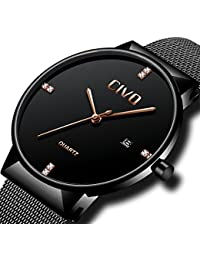 CIVO Mens Black Watches Waterproof Date Calendar Fashion Wrist Watch for Men Teenager Boys Casual Business Dress Luxury Mens Sports Watches with Stainless Steel Mesh Band