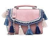 JUND Neu Ethno Quaste Frauentasche Mode Leder Handtasche Elegant Gehäkelt Umhängetasche Lässig Frau Messenger Bag