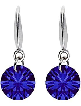 MYA art Damen Ohrhänger 925 Sterling Silber mit Zirkonia Kristall Stein Anhänger Saphir Blau Dunkelblau Klein...