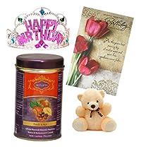 Skylofts Fruit N Nut Chocolates with a cute teddy, birthday card and a beautiful birthday crown