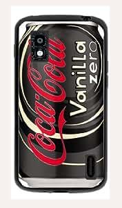 Case Schutzrahmen hülse Coke Coca Cola C22 Abdeckung für Google Nexus 4 Border Gummi Pvc Tasche Schwarz @pattayamart