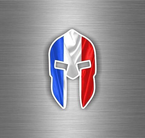 Autocollant sticker voiture moto guerrier trojan spartan drapeau france francais