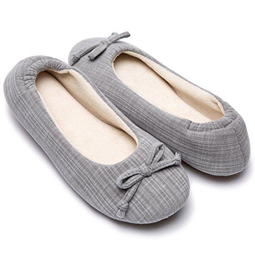 Cozy Niche Damen Comfort Gestreift Gestrickt Ballerina Style Schuhe Memory Foam Hausschuhe Hausschuhe mit Coral Velvet Futter, Grau - grau - Größe: 38/39 EU