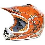Casco Moto Cross Infantil para Niños M 53-54cm, Naranja
