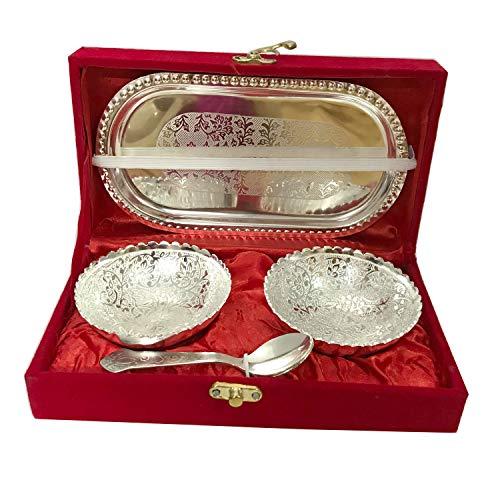 G&D Handgefertigte Designer 2 Schalen 2 Löffel 1 Tablett mit Geschenkverpackung für Trockenfrüchte. Zu Geschenkzwecken anlässlich der Hochzeit Anlässlich Diwali Navratri.