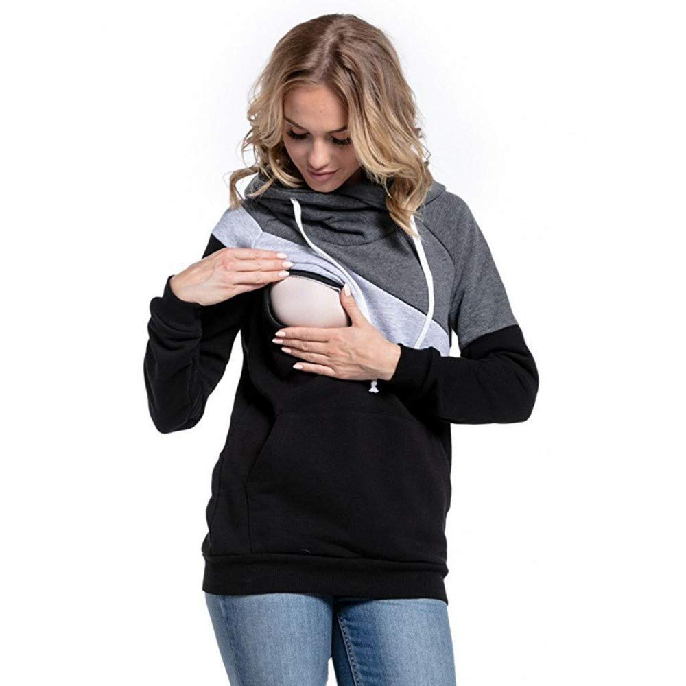 1d2591e79f2cf Yuutimko Women's Pregnant Nursing Baby Maternity Joint Long-Sleeved Hooded Breastfeeding  Tops Blouse Outwear Clothes