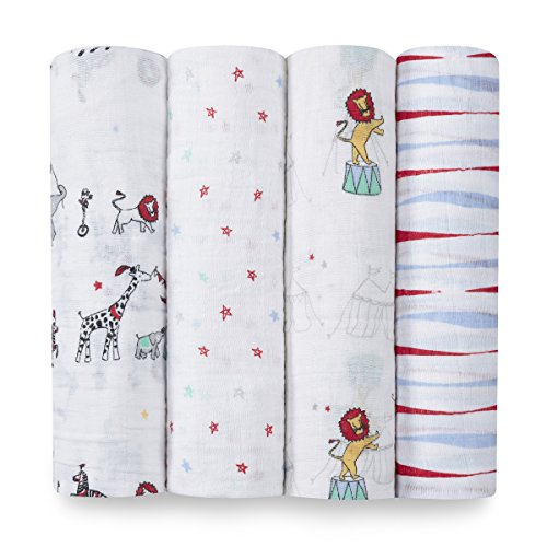 aden + anais 2052G Classic Swaddle Vintage Circus, 4er pack
