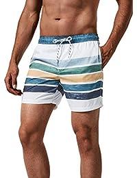 MaaMgic Badehose für Herren, Quick-Dry Badeshorts, 20+ Styles mit Netz-Innenslip & 3 Taschen & Tunnelzug, Männer Shorts für Strand Beach Schwimmen Sport Gym