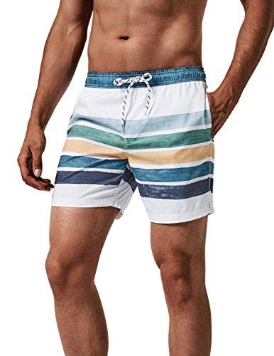 MaaMgic Herren Badeshorts für Jungen Kurz Vielfarbig Schnelltrocknend Beachshorts MEHRWEG Weiß Streifen S