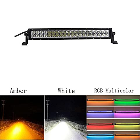 Colorbarz® 120W 22 Inch Straight Amber white LED Work Light Bar with RGB halo ring Multicolor Fog Lights Driving Offroad Truck Jeep 4WD ATV SUV UTV with Mounting Brackets & Wiring Harness