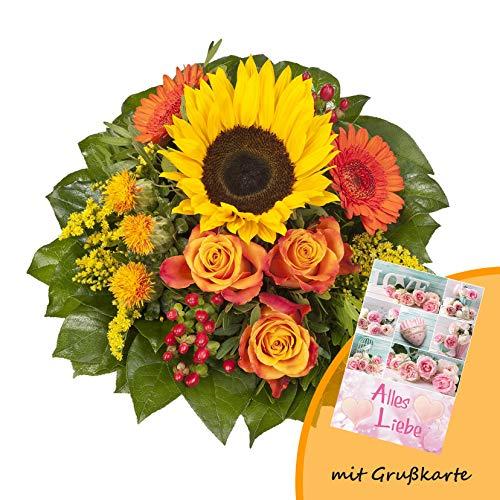 """Dominik Blumen und Pflanzen, Blumenstrauß \""""Sonnenlicht\"""" mit einer Sonnenblume, orangen Rosen, Germini, Färberdistel und Goldrute und Grußkarte \""""Alles Liebe\"""""""
