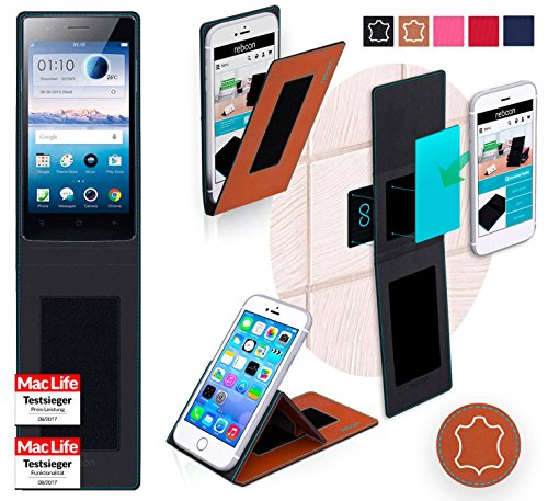 reboon Hülle für Oppo Neo 5s Tasche Cover Case Bumper | Braun Leder | Testsieger