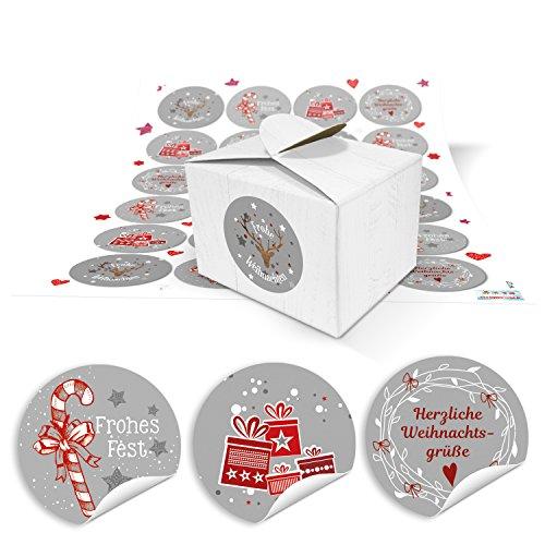 48 kleine weiße Geschenk-Schachtel mini Weihnachten Geschenkboxen 8 x 6,5 x 5,5 + 48 rot graue Weihnachts-Aufkleber Verpackung Kundengeschenk give-away weihnachtliche Geschenk-Box