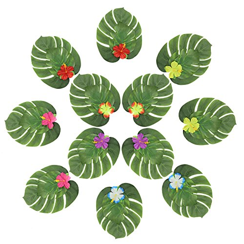 er Dekorationen Hibiscus Blumen Nachahmung Blätter Pflanzen für Hawaiian Luau Party Safari Party Supplies, 48 Stücke (Safari Party Supplies)