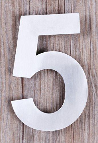 Qt moderno piccolo-Numero civico 4inch, aspetto fluttuante numero cinque (5), compatto, in acciaio inox spazzolato, (Kit Targa Hardware)