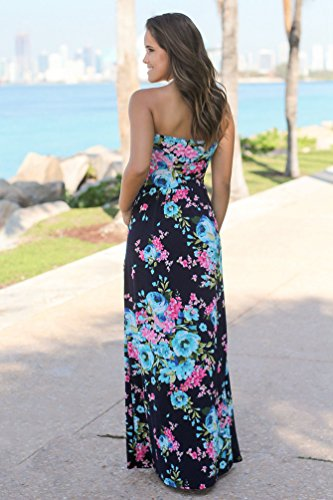 WanYang Damen Sommerkleider Strand Ärmellos Kleider Abendkleid ärmel Blumenmusters Kleid Party Abendkleid Blau