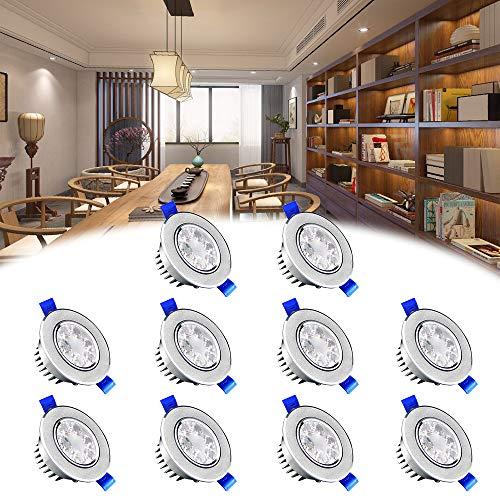 SAILUN 10x 3W Blanc Chaud LED Spot Encastrable Plafonnier Lampe Spot Spot Set Projecteurs encastrés 2800-3000K 280LM AC 85V-265V