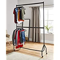Direct Online Houseware Two Tier Heavy Duty Clothes Rail Garment Hanging Rack In Black - Metal Construction (5ft Long x 7ft Tall)