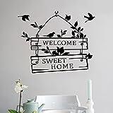 L-Peach Stickers Muraux Élégant Proverbes Anglais 'Welcome Sweet Home' Vinyle Adhésifs Autocollant Amovible DIY Porte d'entrée Décoration Home Decor