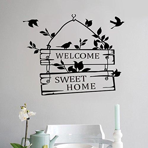 """L-Peach Stickers Muraux Élégant Proverbes Anglais """"Welcome Sweet Home"""" Vinyle Adhésifs Autocollant Amovible DIY Porte d'entrée Décoration Home Decor"""