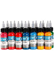Haute qualité 30 ml Encre de Tatouage Professionnel 14 Couleurs Set 1 oz 30 ml / Bouteille Tatouage Pigment Kit Mode Maquillage cosmétiques