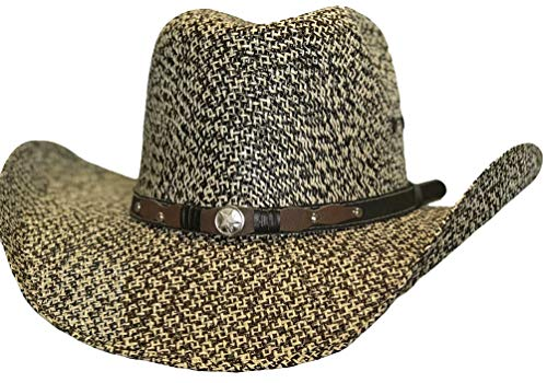 Modestone Unisex Straw Cowboy-Hut Bangora Metal Studs Conchos Hatband 2 Tone -