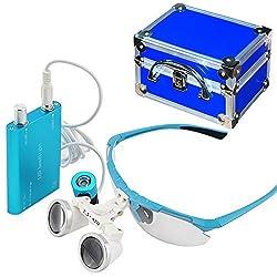 Carejoy Ce 2.5x 420mm Dental Surgical Binocular Loupes + Head Light Lamp + Aluminum Box, Free Dhl Shipping (Blue)