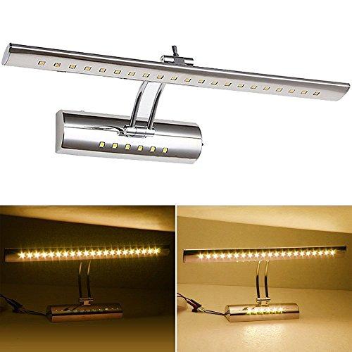 VINGO® 7w Spiegellampe LED mit Schalter, Edelstahl, Winkel einstellbar, Warmweiß