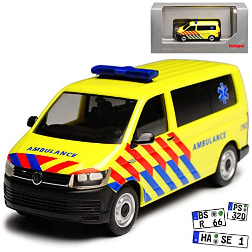Volkwagen T6 Multivan Personen Transporter Ambulance Notarzt Niederlande T5 Ab 2. Facelift 2015 H0 1/87 Herpa Modell Auto