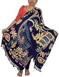 Sanvitta's Floral Paisley Print Viscose Satin Stole Shawl Wrap Dupatta NAVY