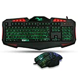 BAKTH Unique Premium Adjustable 7 Colors Illuminated LED Backlight Multimedia Wired USB Gaming Keyboard and Mouse Combos Bundle + Customized Large Mouse Mat