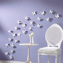 Blanco 24pcs 3d mariposa Wall Stickers Decoración Arte Decoraciones 3tamaño