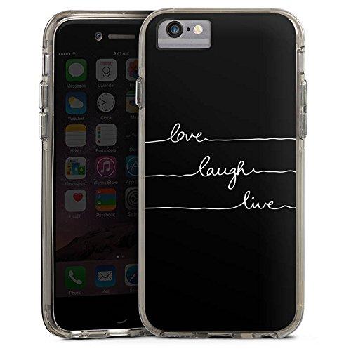 Apple iPhone 6 Bumper Hülle Bumper Case Glitzer Hülle Love Liebe Amour Bumper Case transparent grau