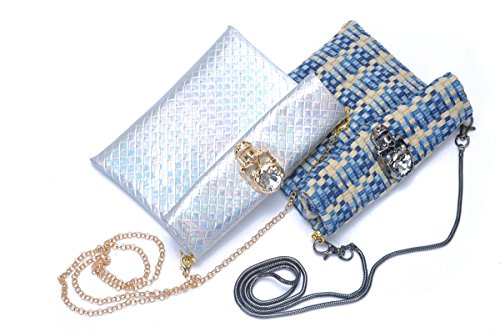 Zarapack da donna ologramma 3d, teschio in finta pelle roll up frizione borsa borsa a tracolla, Blue (blu) - BA953 Blue