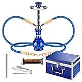 Mianova® Orientalische Tribal Shisha 40cm Wasserpfeife Set im Koffer inkl. Zange, 2 Schläuche und 1 Rolle Kohle Blau