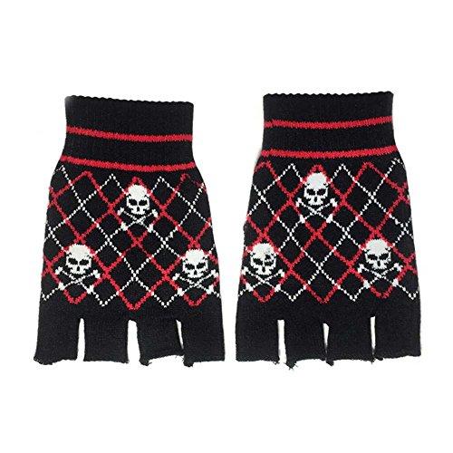 Rockabilly Fingerlose Handschuhe Totenkopf Skull Gothic Handwärmer Halbfinger (59058-823-000)