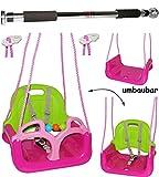 Unbekannt 2 TLG. Set _ Türreck + mitwachsende - Babyschaukel / Gitterschaukel mit Gurt -  ROSA / PINK  - Leichter Einstieg ! - mitwachsend & verstellbar - 100 kg bela..