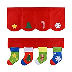 D-FantiX Christmas Decorations, Red Window Valances for Living Room, Bathroom, Bedroom, Christmas Stockings Window Decorations Set of 2