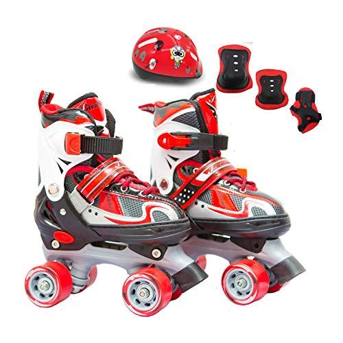XINGF Zweireihige Schlittschuhe Für Kinder, Einsteiger-Schutzausrüstung Mit Vier Rädern, Jungen Und Mädchen Im Freien,Red-30EU-34EU