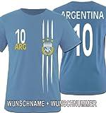 Comedy shirts Coupe Argentina Coupe du Monde 2014–Nom et Numéro personnalisé–T-shirt pour enfant–Différentes tailles et couleurs 122/128 cm ARGENTINA Wunsch | Hellblau